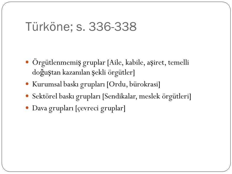 Türköne; s. 336-338 Örgütlenmemiş gruplar [Aile, kabile, aşiret, temelli doğuştan kazanılan şekli örgütler]